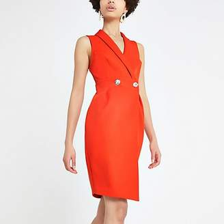 River Island Red bodycon wrap tux dress