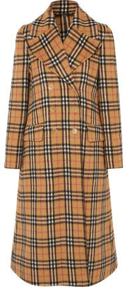 Burberry Double-breasted Checked Alpaca And Wool-blend Coat - Beige