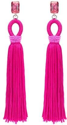 Oscar de la Renta Fuchsia Long Crystal & Silk Tassel Earrings
