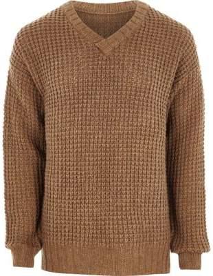 River Island Mens Camel waffle knit V neck sweater