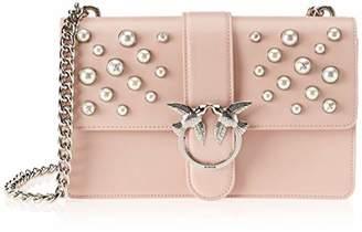 Pinko Love Leather Pearls Tracolla Vitello Vintage+perle, Women's Shoulder Bag,8x20x28 cm (W x H L)