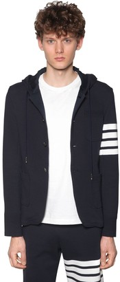Thom Browne Hooded Cotton Jacket W/4 Bar Detail