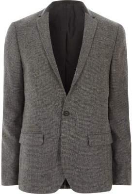 River Island Grey contrast collar skinny fit blazer