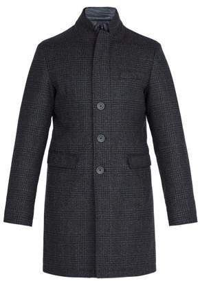 Herno Single Breasted Quilted Wool Blend Coat - Mens - Navy
