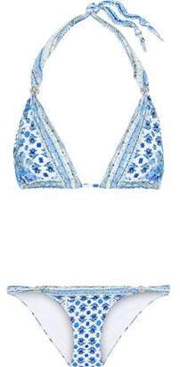 Camilla Salvador Summer Ball Embellished Floral-Print Triangle Bikini