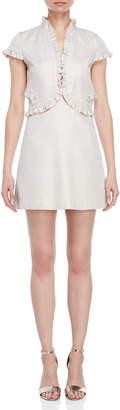 Atos Lombardini Shimmer Ruffle Trim A-Line Dress