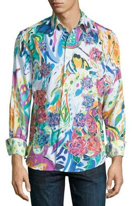 Robert Graham Limited Edition Printed Sport Shirt W/Embroidery, White $398 thestylecure.com
