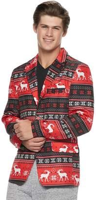Men's Reindeer Striped Christmas Blazer