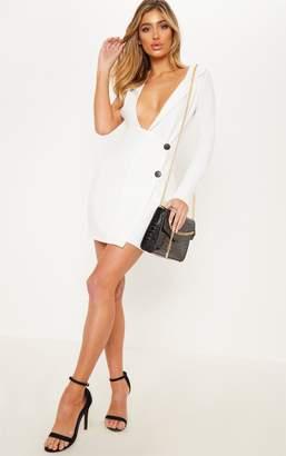 PrettyLittleThing White Asymmetric Sleeve Blazer Dress