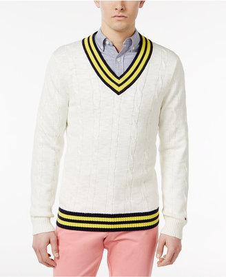 Tommy Hilfiger Men's Coast Cricket Cotton Sweater $99 thestylecure.com