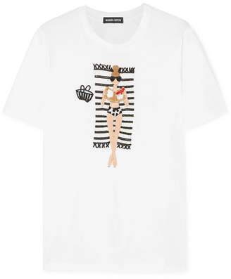Markus Lupfer Alex Vogue Girl Sequined Cotton-jersey T-shirt - White