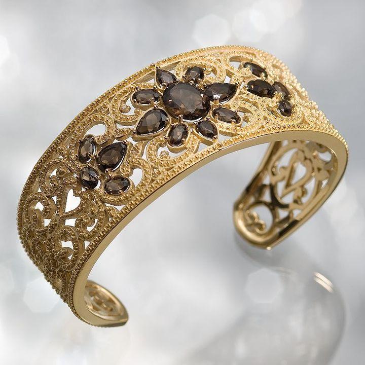 Simply vera vera wang 18k gold-over-silver smoky topaz cuff bracelet
