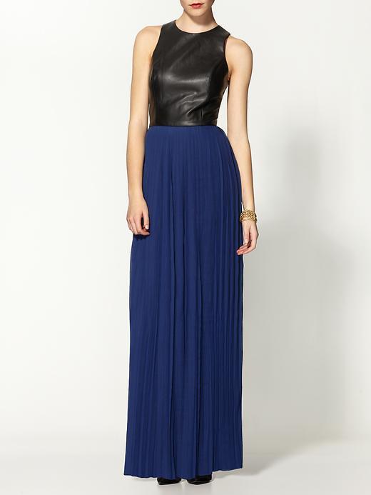Sabine Vegan Leather Chiffon Maxi Dress
