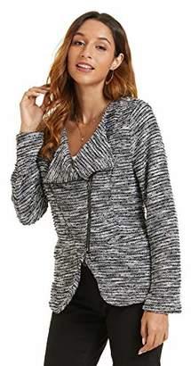 SONJA BETRO Amazon Brand Women's Knit Boucle Side Zip Blazer