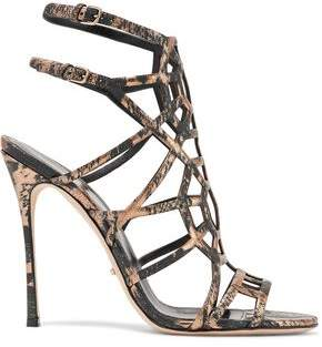 Sergio Rossi Cutout Metallic Printed Textured-Leather Sandals