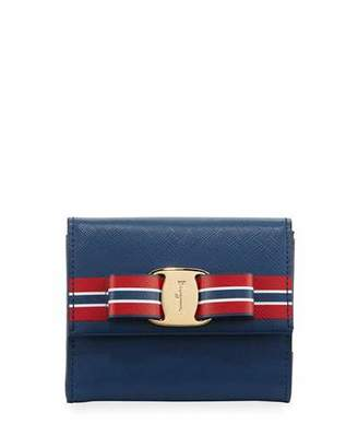Salvatore Ferragamo Vara Striped French Wallet, Base Pacific $550 thestylecure.com