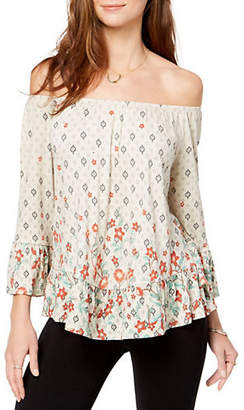 Style&Co. STYLE & CO. Printed Off-the-Shoulder Flounce Top