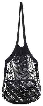 Granny leather and mesh shoulder bag