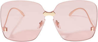 Gucci Square Rimless Pink Sunglasses