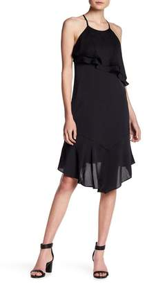 Bebe Asymmetrical Ruffle Halter Dress