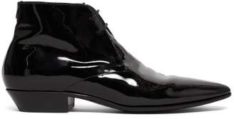 Saint Laurent Jonas Patent Leather Ankle Boots - Womens - Black