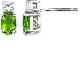 JCPenney FINE JEWELRY Simulated Peridot & White Sapphire Stud Earrings Sterling Silver