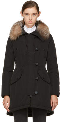 Moncler Black Down and Fur Arehdel Coat