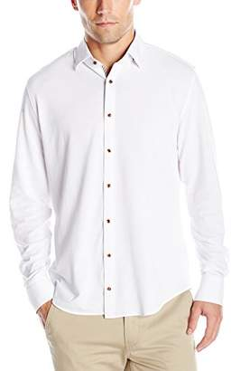 Stone Rose Men's Long Sleeve Pique Jersey Button Down Shrit