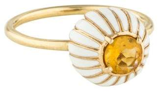 Alison Lou 14K Citrine & Enamel Closed Daisy Ring