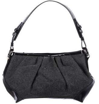 Stuart Weitzman Leather-Trimmed Felt Shoulder Bag