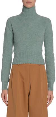 Victoria Beckham Wool Turtleneck Cropped Sweater