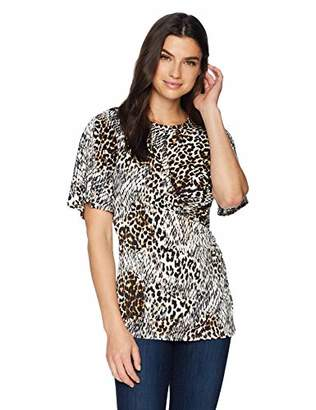 Chaus Women's Flutter Sleeve Exotic Animal Top