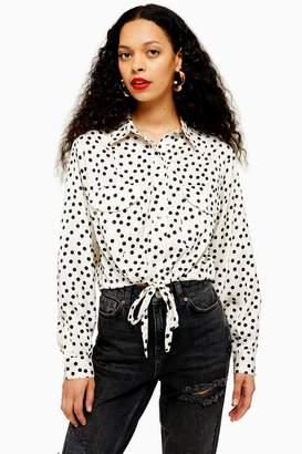 Topshop Womens Petite Spot Drawstring Blouse - Beige
