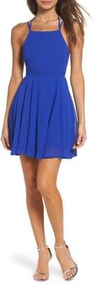 LuLu*s Good Deeds Lace-Up Skater Dress