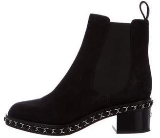 Chanel Suede CC Chain-Link Booties