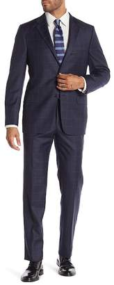 Hickey Freeman Grey Blue Windowpane Two Button Notch Lapel Wool Classic Fit Suit