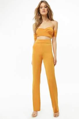 Forever 21 Twist-Front Off-the-Shoulder Crop Top & Pants Set