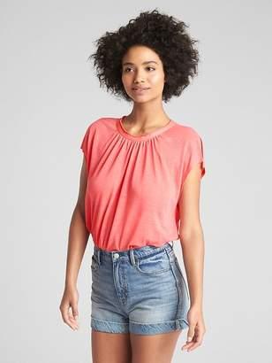 Gap Shirred Short Sleeve Top in Linen Jersey