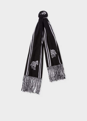 Paul Smith Men's Black And White 'Zebra' Double-Face Scarf