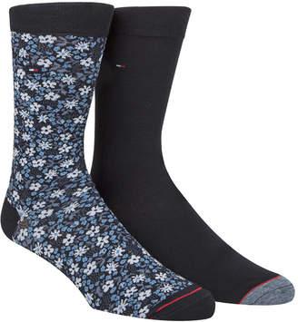Tommy Hilfiger Men's 2-Pk. Floral-Print Crew Socks