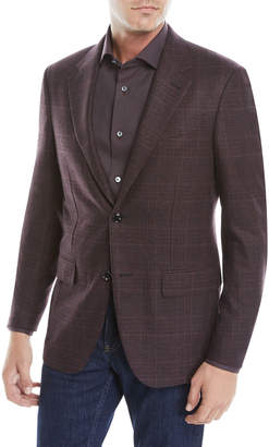 Ermenegildo Zegna Men's Two-Button Tonal Plaid Wool/Cashmere Jacket
