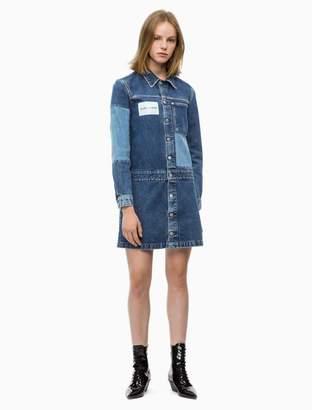 Calvin Klein logo patchwork denim trucker dress