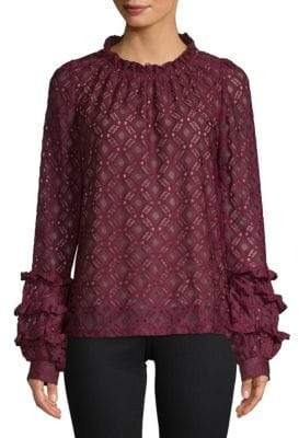 Lumie Long-Sleeve Ruffled Lace Top