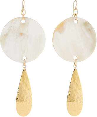 Devon Leigh Horn Disc Hammered Teardrop Earrings