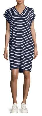 Calvin Klein Striped V-Neck Shift Dress