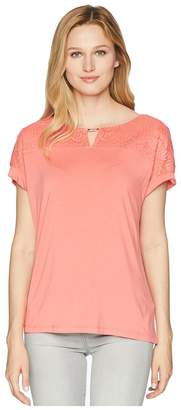 Calvin Klein Short Sleeve w/ Lace Yoke Hardware Women's Clothing