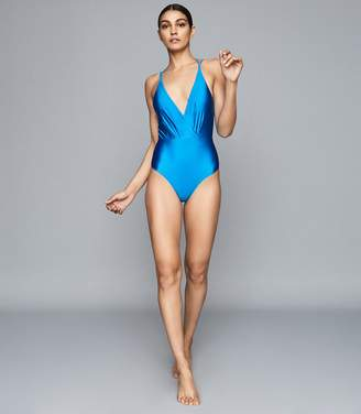 Reiss ROSIE CUT OUT BACK SWIMSUIT Blue