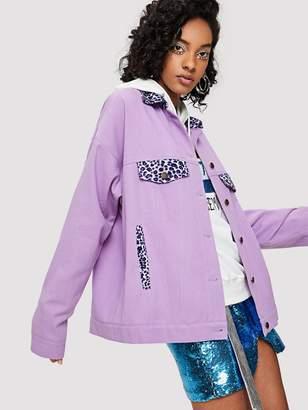 Shein Leopard Collar Button Up Jacket