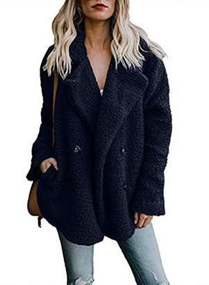 Actloe Women Fleece Open Front Long Sleeve Cardigan Casual Coat with Pockets