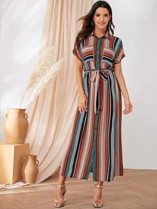 Shein Cape Sleeve Striped Tea Dress With Belt